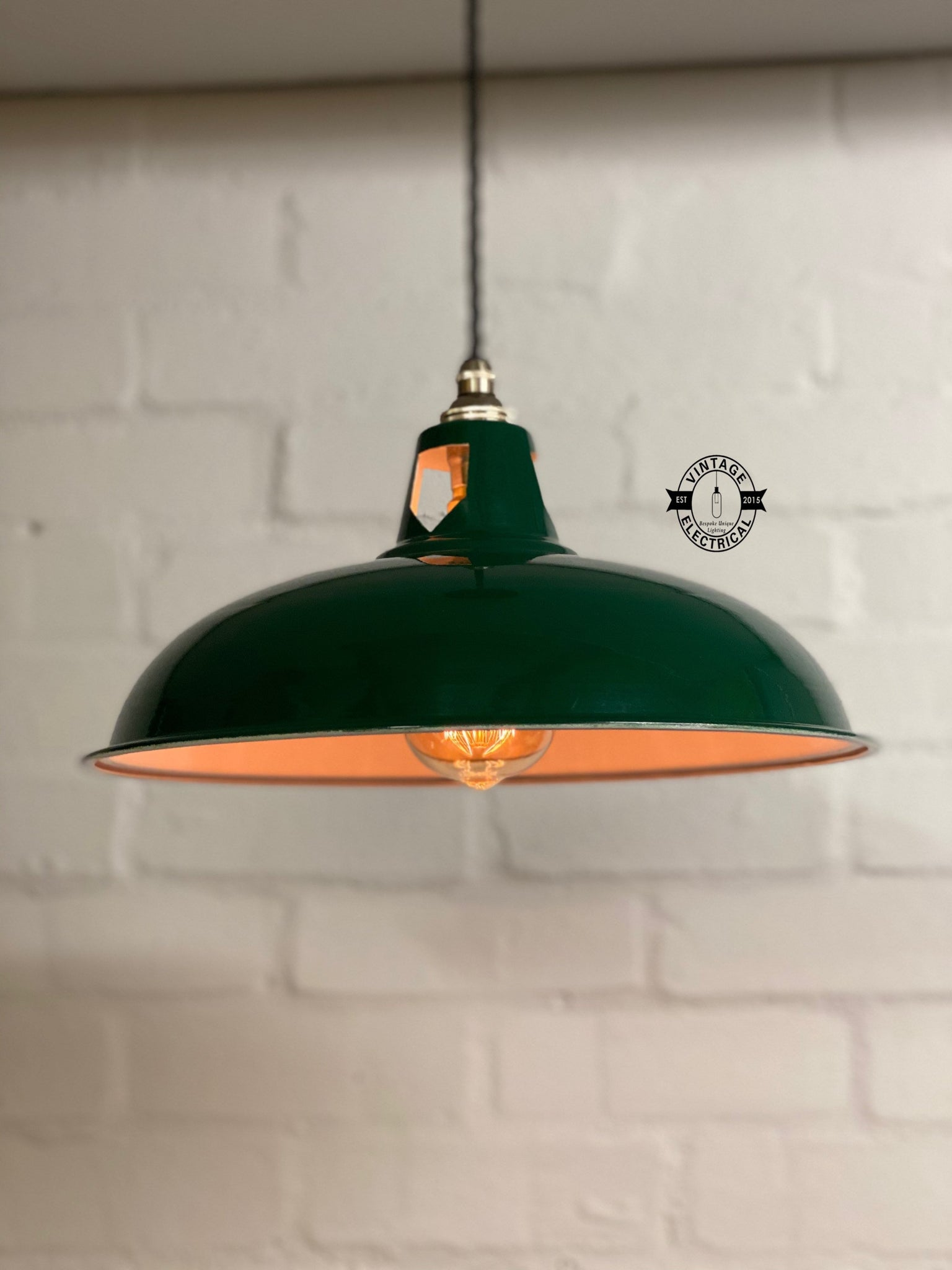 Sedgeford Coolicon ~ Racing Green Solid Industrial Shade Pendant Set Light | Ceiling Dining Room | Kitchen Table | Vintage Thorlux Style