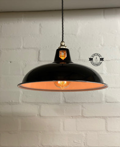 Sedgeford Coolicon ~ Jet Black Solid Industrial Shade Pendant Set Light | Ceiling Dining Room | Kitchen Table | Vintage Thorlux Style