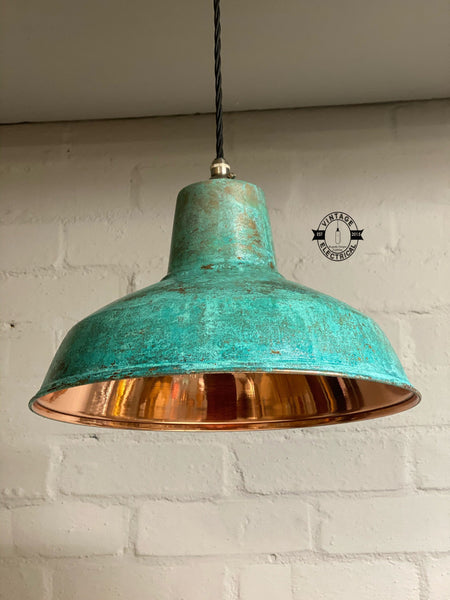 Filby ~ Solid Copper Verdigris Patina Reflector Shade Pendant Set Light | Ceiling Dining Room | Kitchen Table | Vintage Edison Filament Bulb