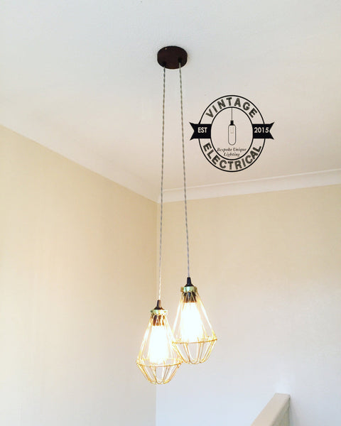 Winterton ~ 2 x Industrial Pendant Set Cage Light | Ceiling Dining Room | Kitchen Table | Vintage 2 x Edison Filament Bulbs