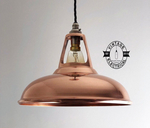 Cawston XL ~ Solid Copper Coolicon Shade 1933 Pendant Set Light | Ceiling Dining Room | Kitchen Table | Vintage Industrial Filament Bulb
