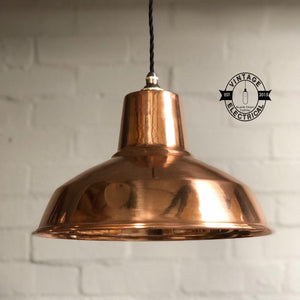 Filby ~ Polished Solid Copper Industrial Shade Pendant Set Light | Ceiling Dining Room | Kitchen Table | Vintage 1 x Edison Filament Bulb