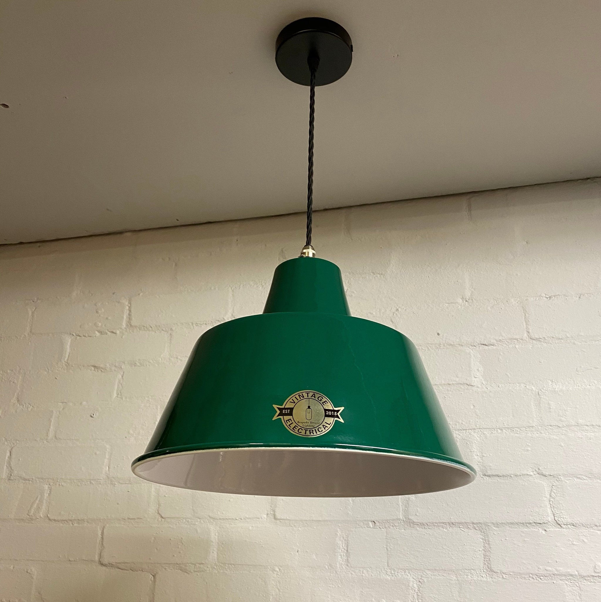 Pentney ~ Green Industrial factory shade light ceiling dining room kitchen table vintage edison filament lamps pendant bar