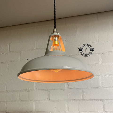 Cawston ~ Original Grey Solid Coolicon Shade 1933 DesignPendant Set Light | Ceiling Dining Room | Kitchen Table | Vintage Filament Bulb