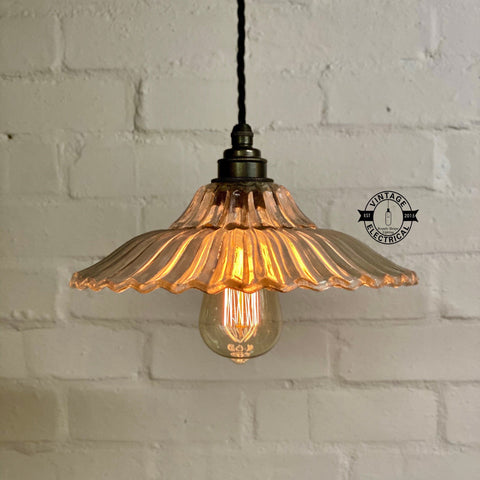 Lenwade ~ Prismatic Glass Shade Light ceiling dining room kitchen table vintage edison filament lamps pendant bar **FACTORY SECOND**