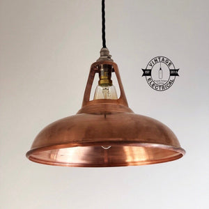 Cawston ~ Solid Antique Copper Coolicon Shade 1933 Design Pendant Set Light | Ceiling Dining Room | Kitchen Table | Vintage Filament Bulb