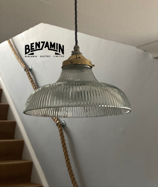Wolferton ~ Benjamin Electric Holophane Glass Shade Light | ceiling dining room | kitchen table | vintage filament pendant bar prismatic