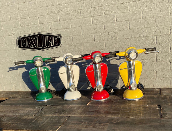 Maxlume ~ White Vespa Scooter Table Lamp Vintage Style | Fabric Cable | Bedroom | Bedside Reading Light | Retro | Dimmable LED Bulb