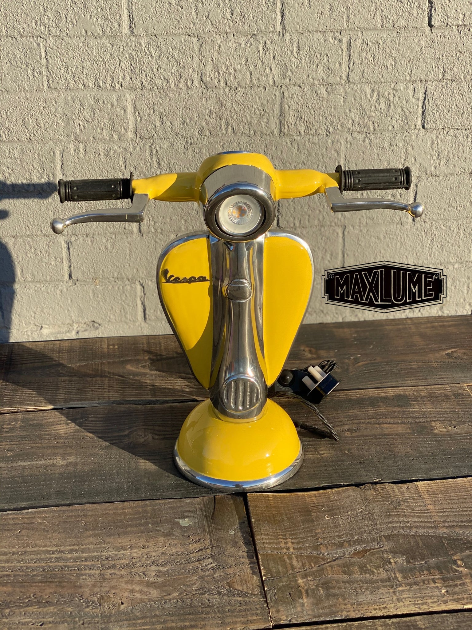 Maxlume ~ Yellow Vespa Scooter Table Lamp Vintage Style | Fabric Cable | Bedroom | Bedside Reading Light | Retro | Dimmable LED Bulb