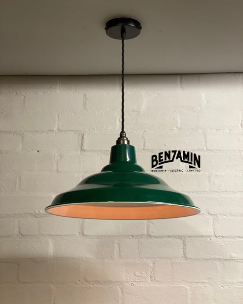 Bawsey ~ Racing Green Industrial factory shade light ceiling dining room kitchen table vintage edison filament lamps pendant bar