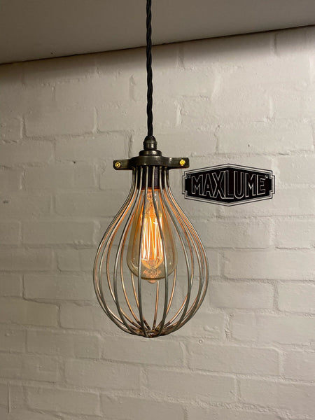 Buxton ~ Maxlume Industrial Balloon Cage Pendant Set Light | Ceiling Dining Room | Kitchen Table | Vintage 1 x Edison Filament Bulb