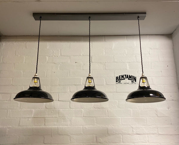 Cawston ~ Jet Black Coolicon Shades 1933 Design Pendant Set Light | Ceiling Dining Room | Kitchen Table | Vintage Industrial
