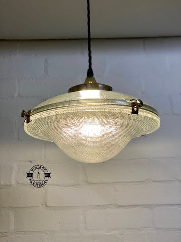Houghton ~ Holophane Glass Shade Light ceiling dining room kitchen table vintage edison filament lamps pendant bar