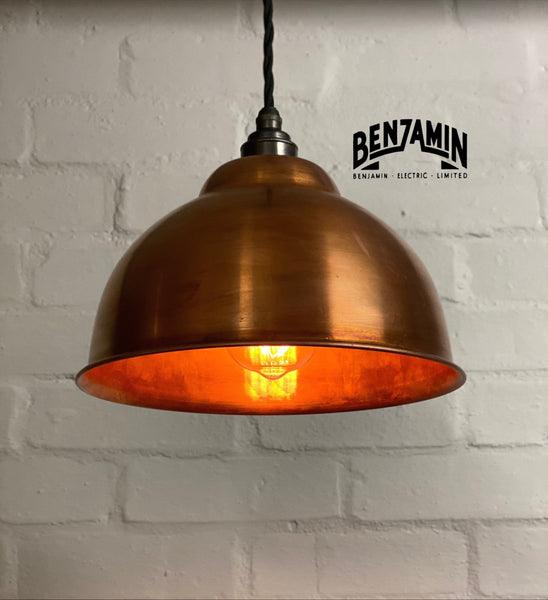 Morley ~ Copper Industrial factory shade light ceiling dining room kitchen table vintage edison filament lamps pendant bar