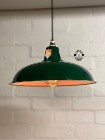 Sedgeford Coolicon ~ Racing Green Solid Shade Pendant Set Light | Ceiling Dining Room | Kitchen Table | Vintage Style **Factory Second**
