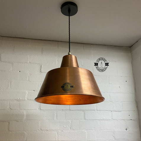 Pentney ~ Copper Industrial factory shade light ceiling dining room kitchen table vintage edison filament lamps pendant bar