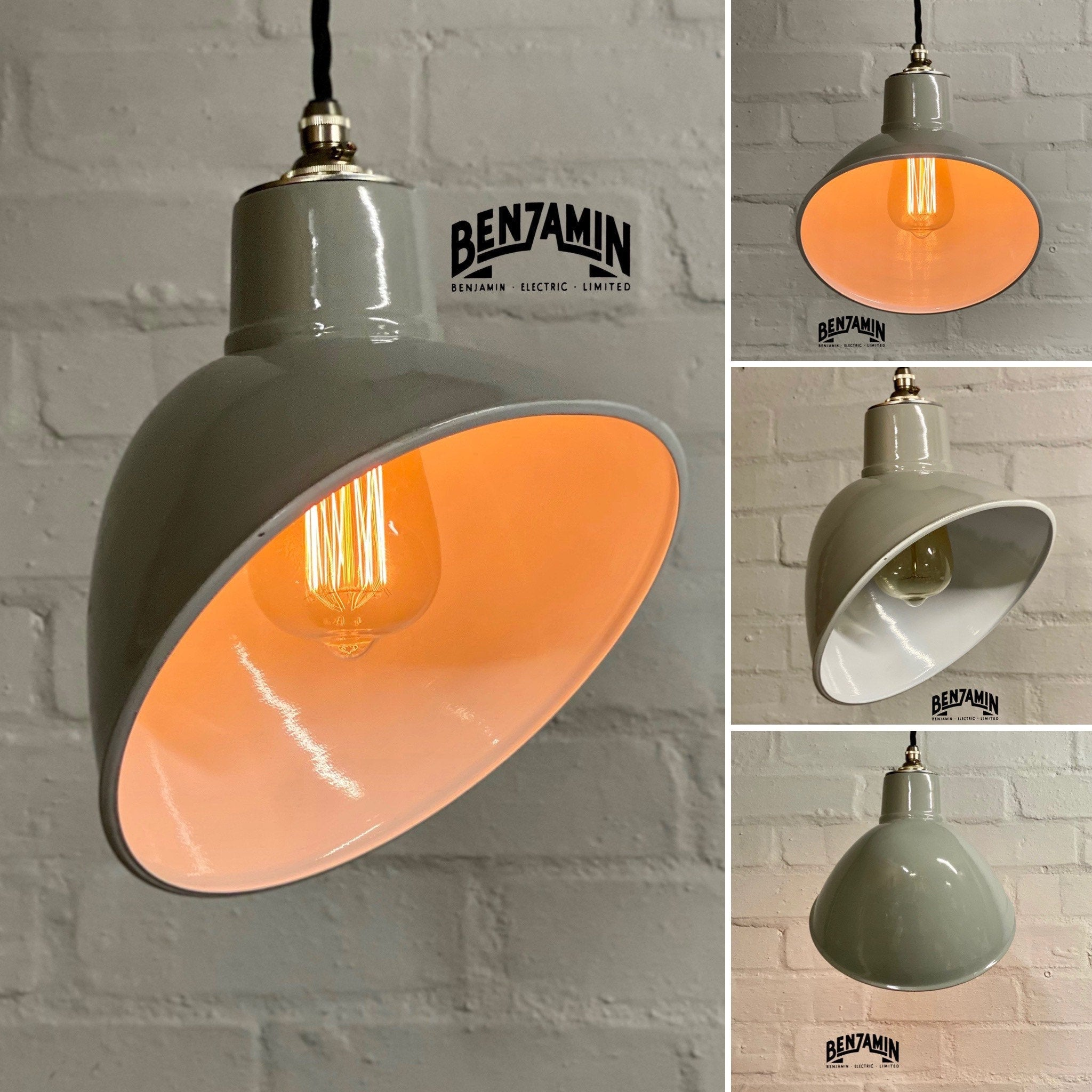 Stratton ~ Original Grey Solid Parabolic Shade Design Pendant Set Light | Ceiling Dining Room | Kitchen Table | Vintage Industrial
