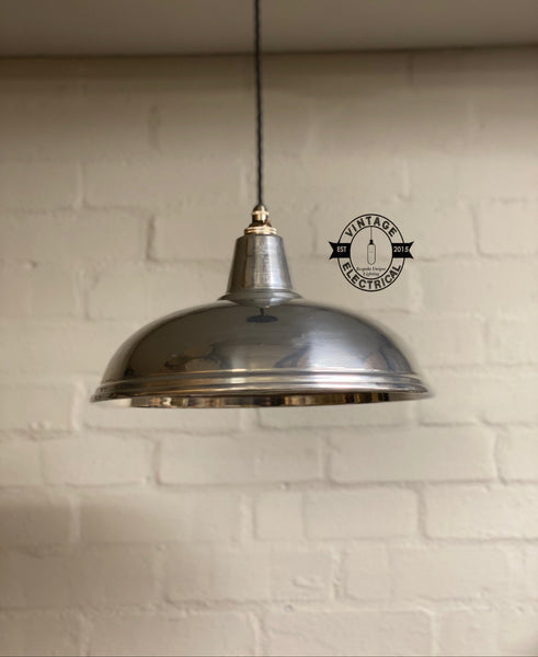 Sedgeford ~ Polished Nickel Industrial Shade Pendant Set Light | Ceiling Dining Room | Kitchen Table | Vintage 1 x Edison Filament Bulb