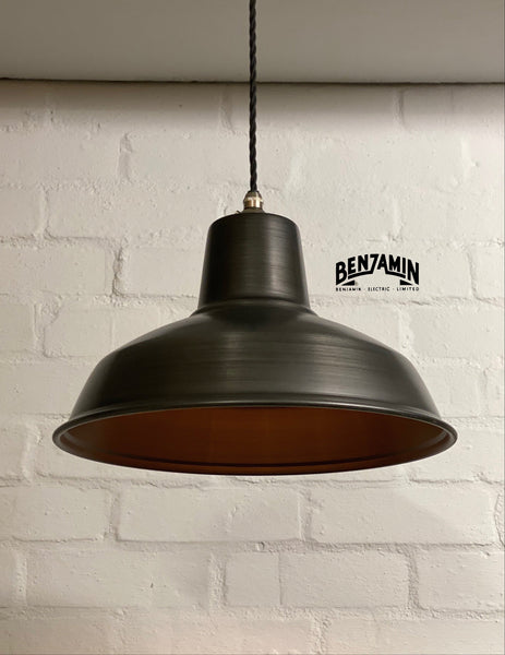 Filby ~ Solid Pewter Grey Steel Industrial Shade Pendant Set Light | Ceiling Dining Room | Kitchen Table | Vintage 1 x Edison Filament Bulb