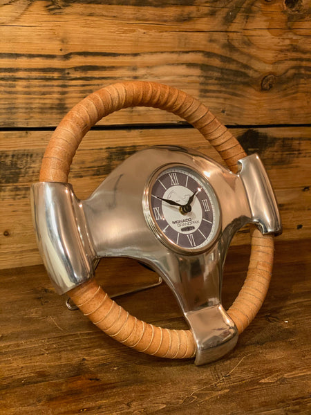 Maxlume ~ Monaco Grandprix Racing Steering Wheel Clock Genuine Leather 1929 Classic Car