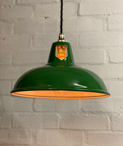 Geniune Green Solid Thorlux Coolicon Shade Pendant Set Light | Ceiling Dining Room | Kitchen Table | Vintage Filament Bulb