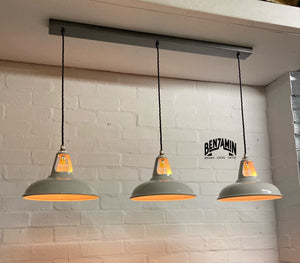 Cawston ~ 3 x Original Grey Coolicon Shades 1933 Design Pendant Set Track Light | Ceiling Dining Room | Kitchen Table | Vintage Industrial