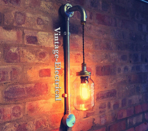 The Kilverstone Kilner mason jam jar wall light fitting retro vintage e27 lamps steampunk conduit metal handmade kitchen cafe pub restaurant