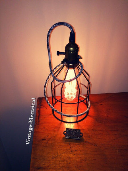 The Caston Black Cage light black & white zig zig retro fabric 2 metres of cable table inspection lamp reading bedside rustic + fila