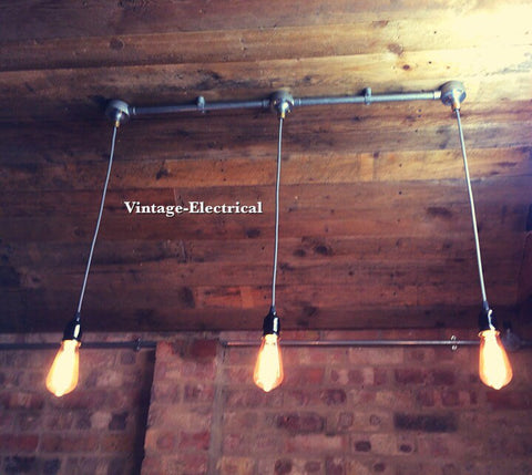 Heacham ~ 3 x Industrial Pendant Set | Ceiling Dining Room | Kitchen Table Hanging Light | Vintage 3 x Edison Filament Bulbs