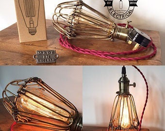 Hemsby ~ Antique Brass Cage Table Lamp Copper Switch
