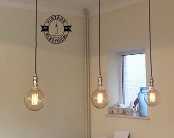 Heacham ~ Industrial 3 x Ceiling Pendant Drop Light Dining Room Table Vintage