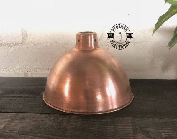 Morely ~ Solid Steel Copper Coated Shade Industrial Factory Light ~ Dining Room Table