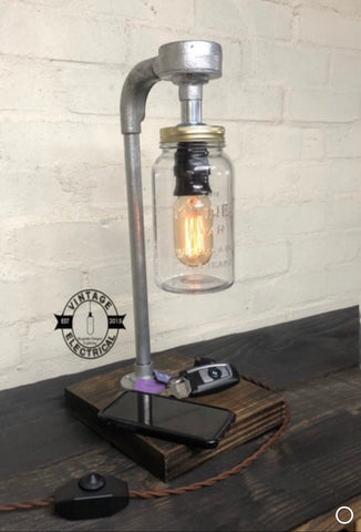 Foxley ~ Kilner Limited Edition 175 Years Industrial Mason Jar Wooden Table Light