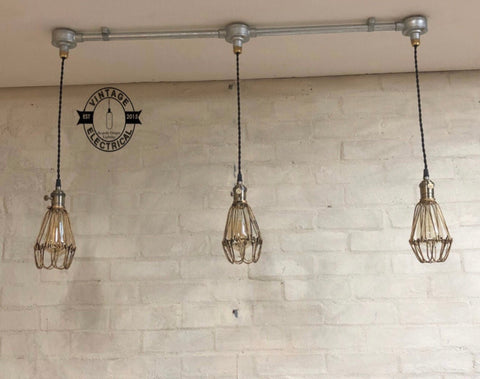 Hemsby~ 3 x Antique Brass Industrial Cage Light