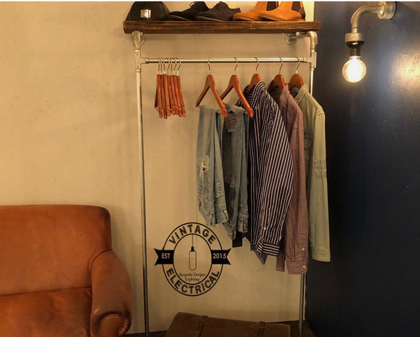 The Hapton Industrial Clothes Rail Vintage Style Wooden Shelf Solid Metal Hallway Coat Rack Wardrobe Solution Floor Standing
