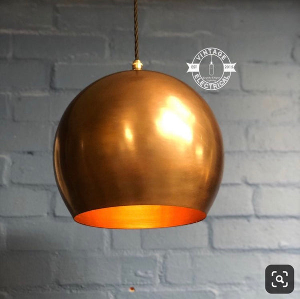 Gayton ~ Antique Copper Style Industrial Factory Globe Shade Light