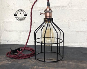 Caston ~ Black Cage Solid Table Lamp Copper Holder With Switch