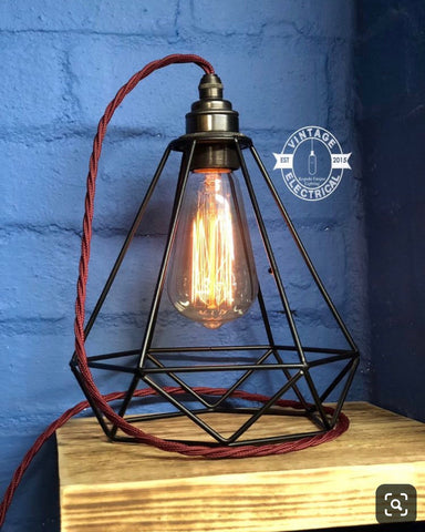 ~ Black Cage Solid Table Lamp Copper Holder