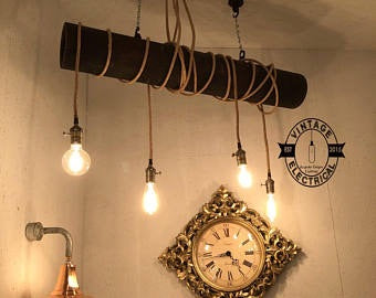 Morston ~ 4 x Solid Wood Industrial Pendant Drop Light