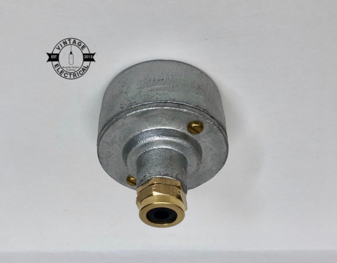 Industrial ceiling rose galvanised with solid brass gland