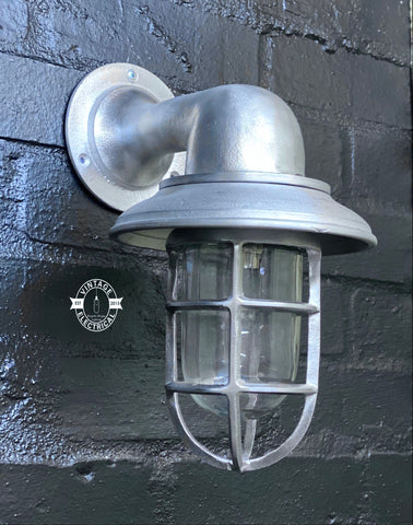 Wells ~ Solid Cast Caged Swan Neck Bulkhead Industrial Wall Light | Bathroom | Outdoor Garden | Vintage 1 x Edison Filament Bulb