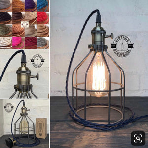 Caston ~ Raw Steel Cage Table Lamp Brass Switch