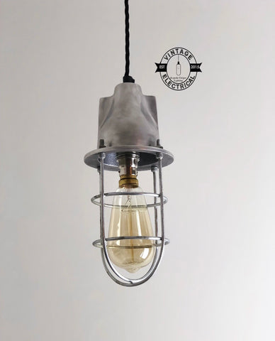 Coxford ~ Cage Industrial Factory Shade Light ~ Gun Metal Pewter