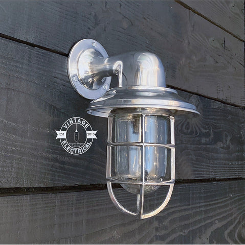 Wells ~ Solid Polished Nickel Caged Swan Neck Bulkhead Industrial Wall Light | Bathroom | Outdoor Garden | Vintage 1 x Edison Filament Bulb
