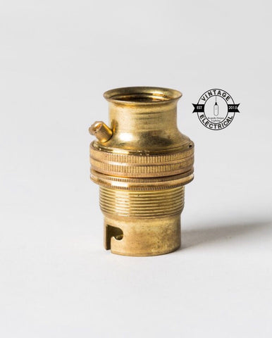 Brass Pendant Lampholder Bayonet B22 Fitting 20mm Thread Fits Conduit