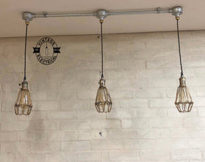 Hemsby ~ 3 x Raw Steel Industrial Cage Light