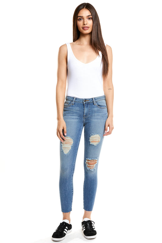 Hailey Mid Rise Cropped Skinny - Fizzle
