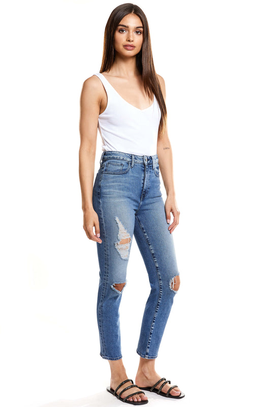 Ava High Rise Cropped Straight - Trouble
