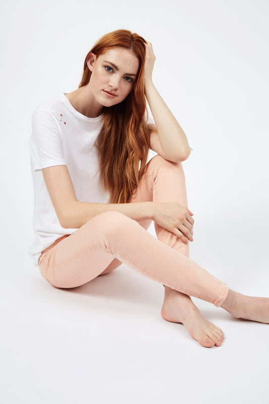Lily Mid Rise Skinny - Peach