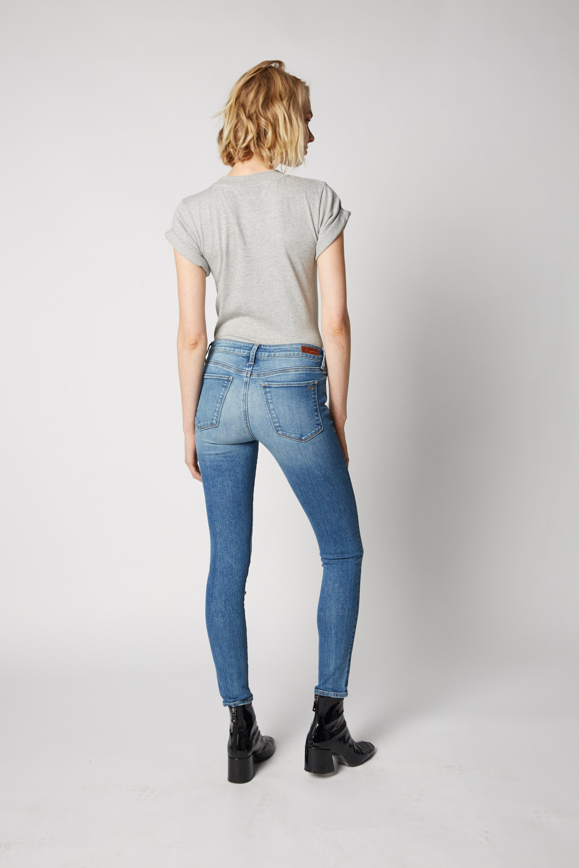 Hailey Mid Rise Cropped Skinny - Frozen Love